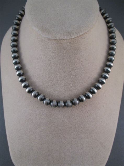 silver beaded necklace oxidized sterling silver bead necklace 16 quot two grey