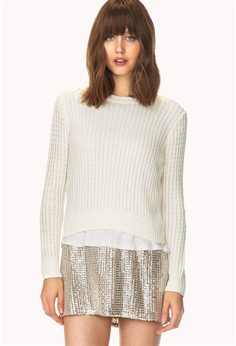 knitted sweaters forever 21 forever 21 crisp cable knit sweater in white lyst