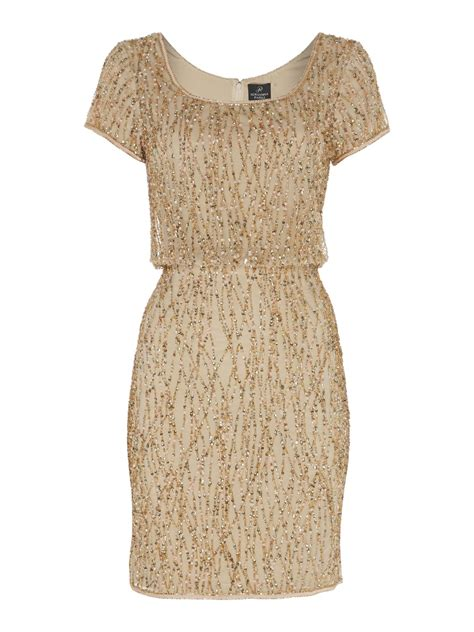 blouson beaded dress papell beaded blouson cocktail dress in gold