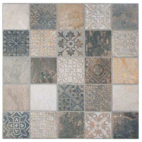 merola tile deco calzada ardesia 17 1 2 in x 17 1 2 in porcelain floor and wall tile 11 sq