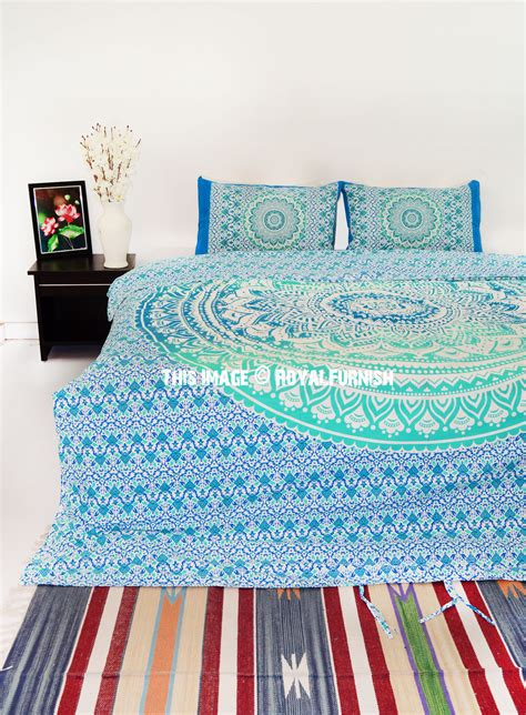 sea green bedding set sea green king bohemian bedding ombre mandala duvet cover