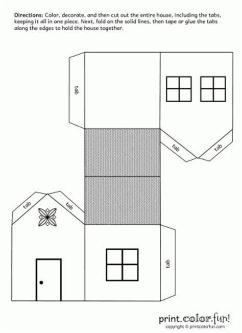 house cutout craft coloring page print color fun