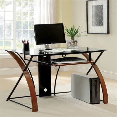 glass modern desk furniture of america sirga modern grey tempered glass