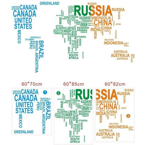 large world map wall sticker large world map in words images diagram writing sle