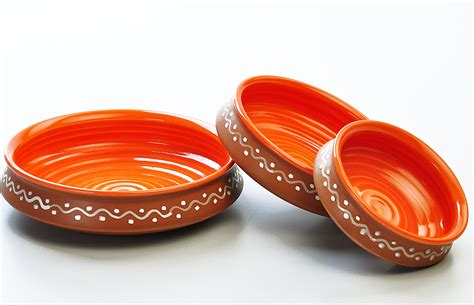 Centerpiece Ideas For Kitchen Table terracotta and orange urli serving set set of 3 from the