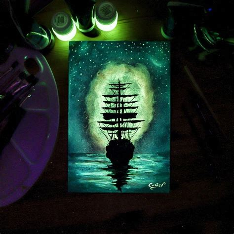 glow in the paint that works dazzling paintings of animals and landscapes made with