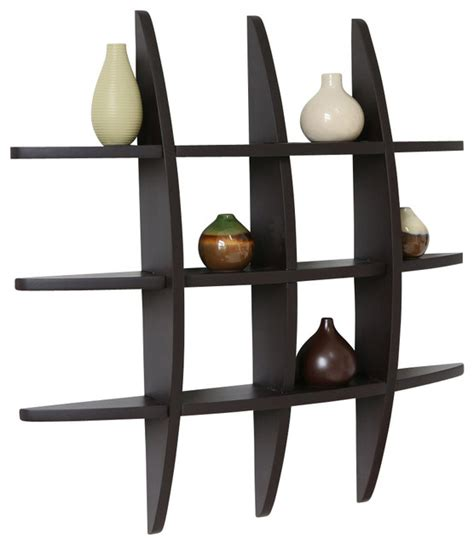 contemporary wall shelves globe cross display wall shelf espresso