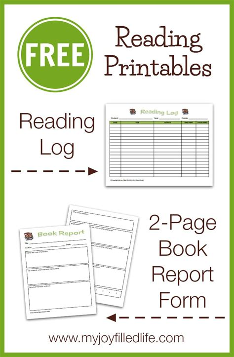 free reading log amp book report form my joy filled life