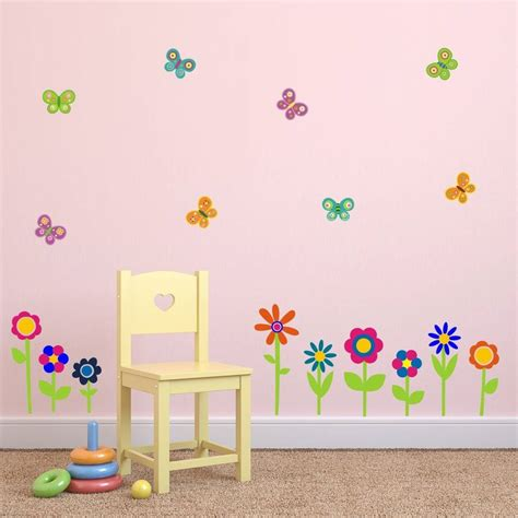 flower stickers for walls flowers and butterflies wall stickers by mirrorin