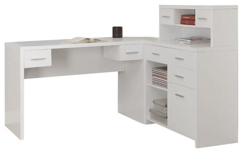 white desk l shaped monarch specialties 7028 hollow l shaped home office