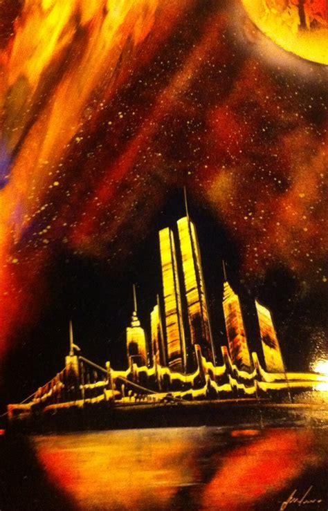 spray paint new york city skyline new york towers skyline spraypaint by