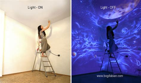 glow in the paint room artist paints rooms with murals that glow blacklight
