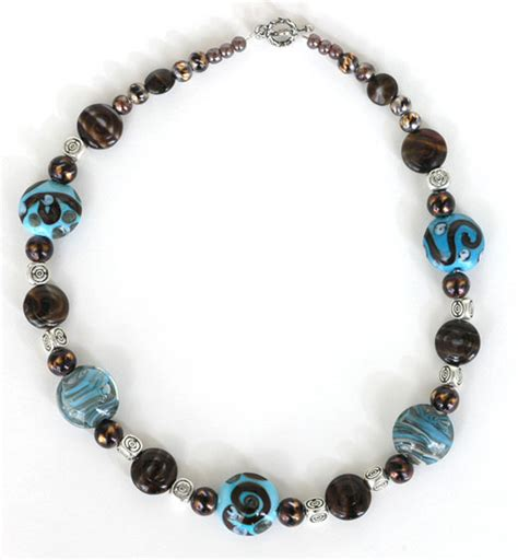 bead necklace ideas chocolate and turquoise lwork bead necklace beadage