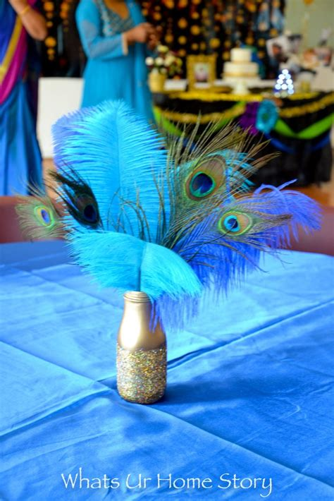 peacock feather decorations home diy glitter jar peacock centerpiece whats ur home story