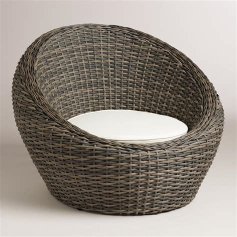 outdoor wicker chairs all weather wicker formentera egg outdoor chair world market