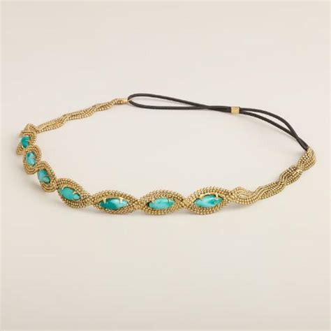 stretchy beaded headbands turquoise and gold chain beaded elastic headband world