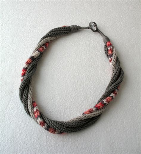 knitted necklace knitted necklace in gray pink white by dreamlist on etsy