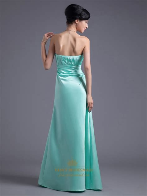 mint beaded dress mint strapless empire beaded waist satin ruched bridesmaid