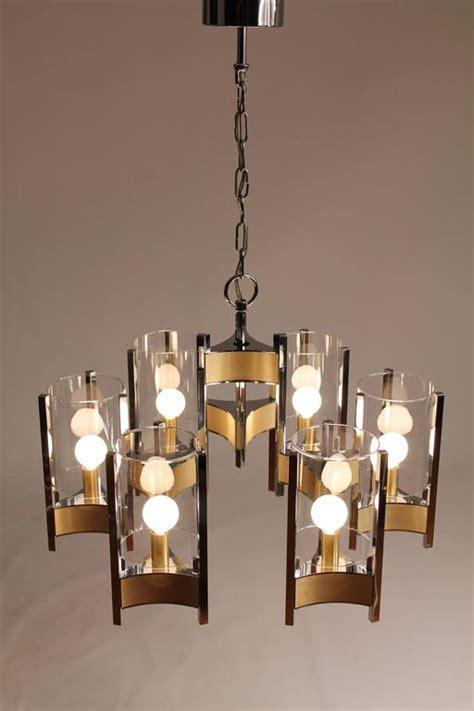 hurricane l chandelier sciolari six light glass hurricane chandelier mid century