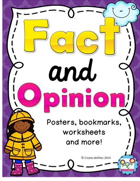 fact and opinion picture books fact and opinion posters bookmarks worksheet and more