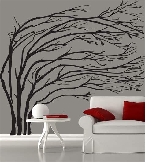 black tree wall sticker modern black blowing tree wall decal silhouette by