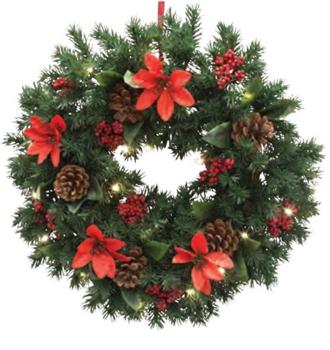 lit wreaths wreath poinsettia pine with pre lit battery 20