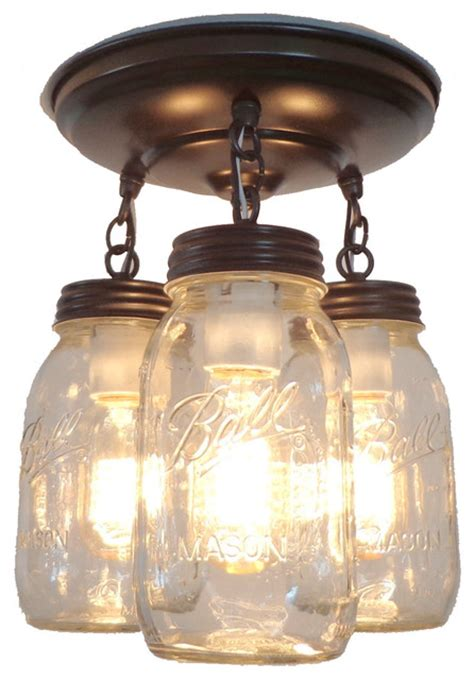 jar ceiling lights jar light fixture trio of new quarts rubbed