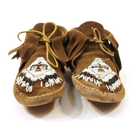 mens beaded moccasins 70s beaded fringe ankle moccasins in cocoa brown by