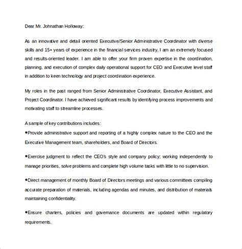executive assistant cover letter 9 download free