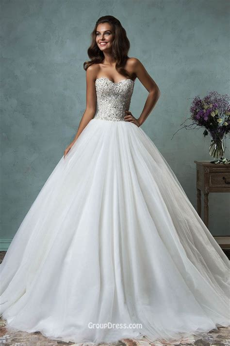 Strapless Sweetheart Sparkly Beaded Tulle Gown