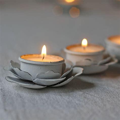 tea tree light holders set of three flower tea light holders by the wedding of my