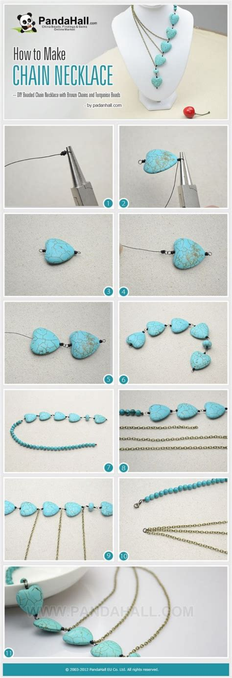 how to make a beaded chain necklace how to make pretty beaded chain necklace how to