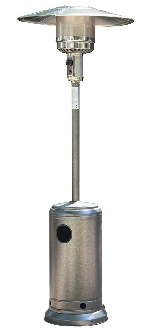 patio heater problems silver powder coated hammered metal steel outdoor garden