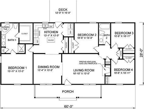 4 bedroom ranch floor plans plan 46036hc country cottage home plan house plans 4 bedroom house and house
