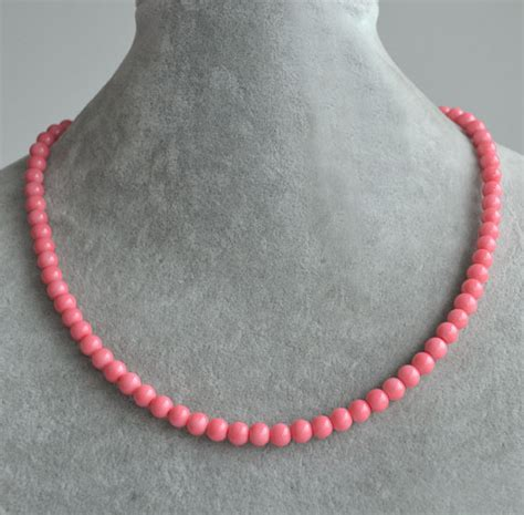 pink coral bead necklace pink coral bead necklacesingle string coral pearl necklace