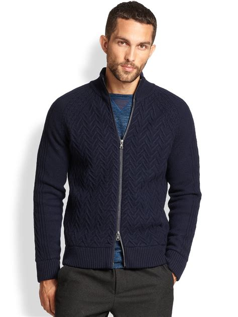 zip up cable knit sweater vince cable knit zip up sweater in blue for lyst