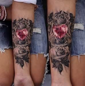 heart diamond and roses tattoo by moni marino tattoonow