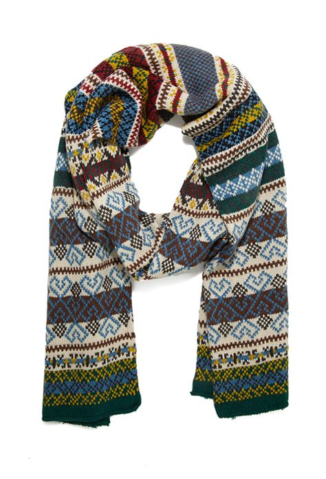 mens fair isle knitting patterns forever 21 fair isle pattern knit scarf in blue for lyst