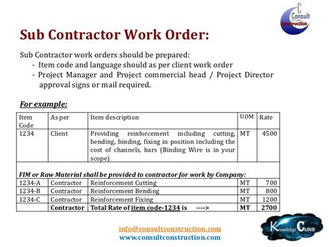 Subcontractors Agreement Template internal controls at construction site