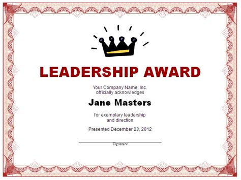 leadership award template 11 11