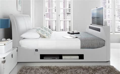 single tv bed frame maximus white leather multi media king size tv bed frame