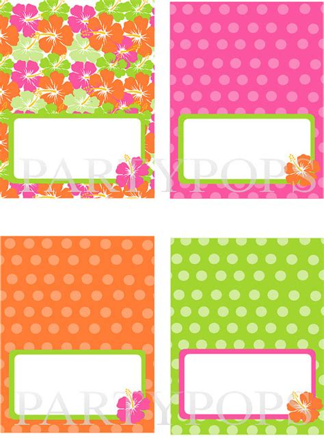 diy luau party food label or name place card tabel tent