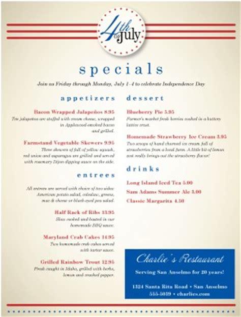 july 4th restaurant menu 4th of july menus
