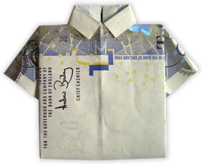 origami shirt folding money origami shirt folding