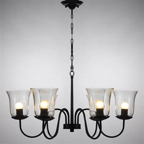 lshade chandelier northic country 6 clear glass shades iron chandelier 10344