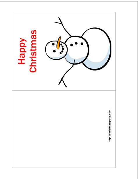 free printable happy christmas card with snowman