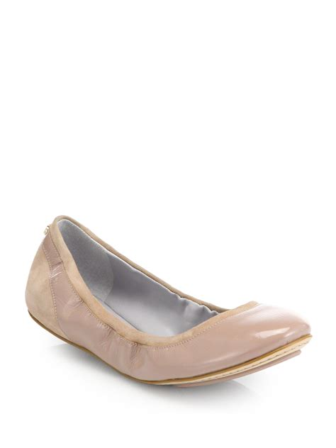 patent leather ballet flats cole haan avery suede patent leather ballet flats in lyst