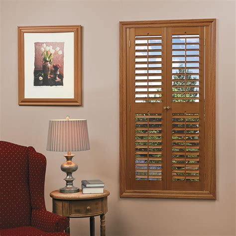 window shutters interior home depot homebasics plantation faux wood oak interior shutter price varies by size qspb3560 the home
