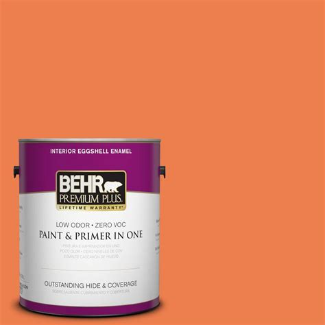 home depot paint eggshell finish behr premium plus 1 gal p200 6 sizzling sunset eggshell