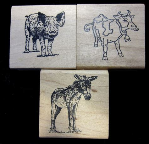 farm animal rubber sts set 3 farm animals wood mounted rubber sts pig hog cow